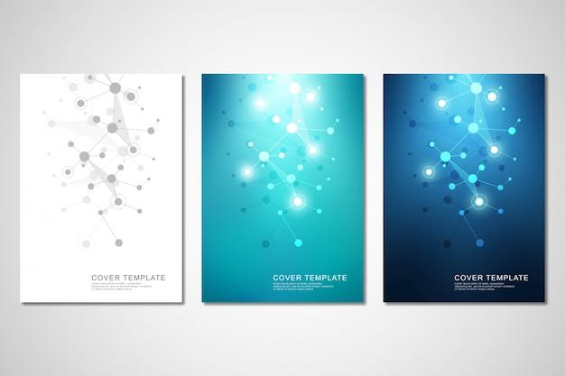 Brochure o copertina con struttura molecolare e linee e punti collegati