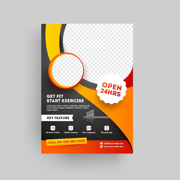 Brochure o modello del club fitness basato su concetto di fitness e palestra