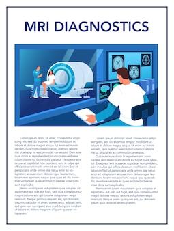 Brochure pubblicitaria per la risonanza magnetica. ricerca medica e diagnosi. scanner tomografico moderno. assistenza sanitaria . idea di volantino mri. illustrazione
