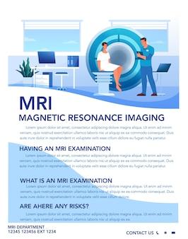 Brochure pubblicitaria per la risonanza magnetica. ricerca medica e diagnosi. scanner tomografico moderno. concetto di assistenza sanitaria. idea di volantino mri. illustrazione