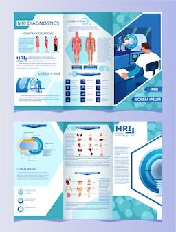 Brochure pubblicitaria per la risonanza magnetica. ricerca medica e diagnosi. scanner tomografico moderno. concetto di assistenza sanitaria. libretto o volantino mri con infografica.