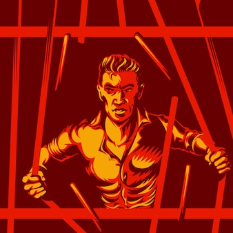 Broken prison bars freedom concept
