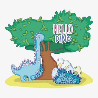 Brontosauro carino con uova e albero di dino