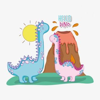 Brontosauro coppia di animali selvatici con vulcano e sole