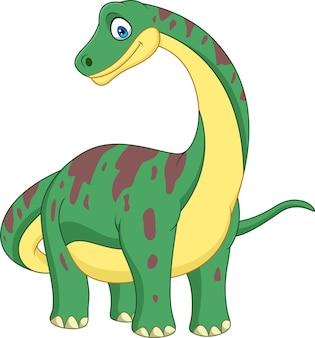 Brontosauro del fumetto isolato su sfondo bianco