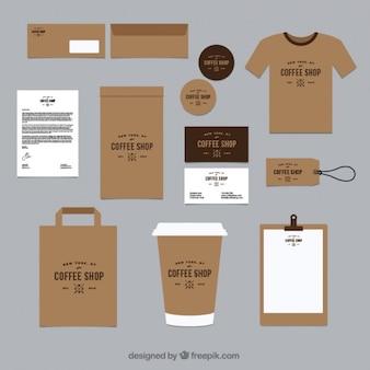 Brown identità corporativa per il caffè chop