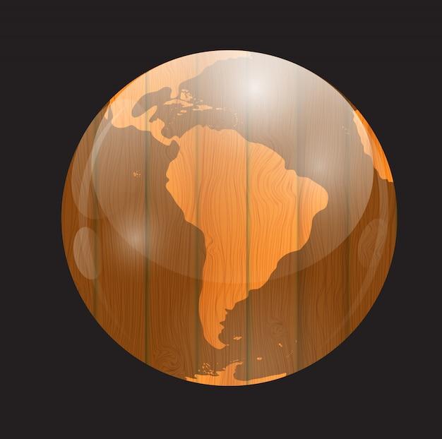 Brown si imbarca sull'illustrazione di vettore della mappa di mondo