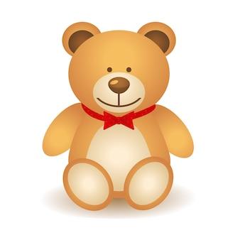 Brown teddy bear con l'isolato rosso dell'arco su fondo bianco