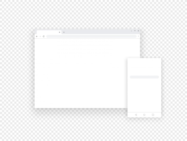 Browser web e mobili adattivi isolati su trasparente