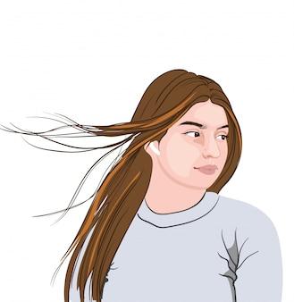 Bruna seria in maglione grigio con auricolari wireless