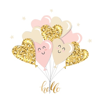 Brunch con palloncini cuore kawaii. femminile. glitter oro, rosa pastello e beige.