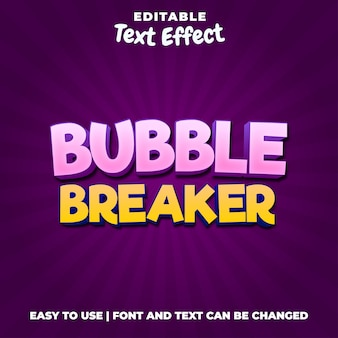 Bubble breaker gioco logo stile effetto testo modificabile