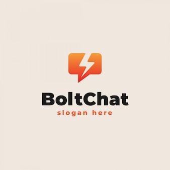 Bubble chat con modello di logo icona bullone di tuono. illustrazione vettoriale