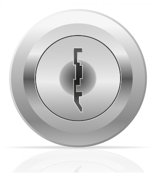 Buco della serratura in metallo argentato.