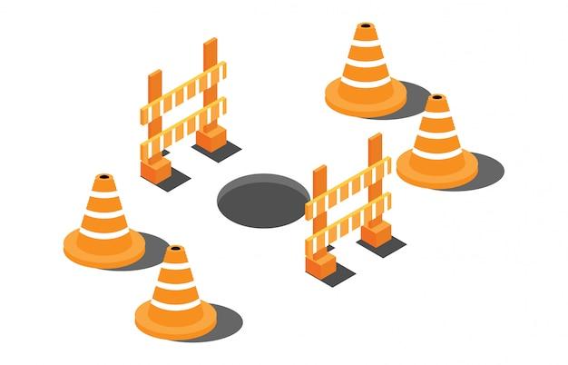 Buco isometrica su una strada con segnali di pericolo