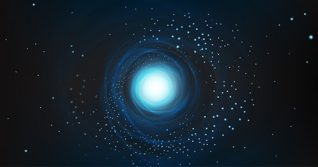 Buco nero con galassia a spirale su sfondo cosmico