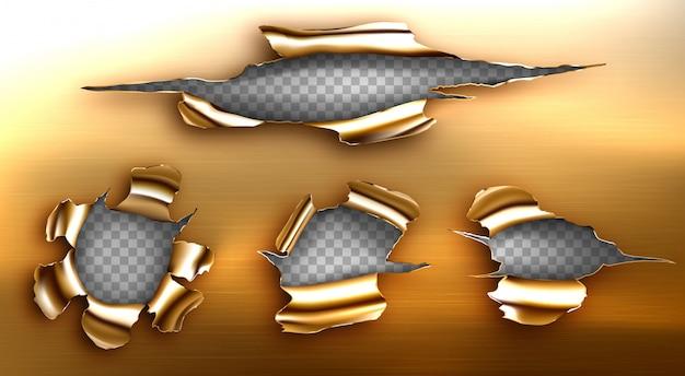 Buco strappato, crepa irregolare in un foglio d'oro