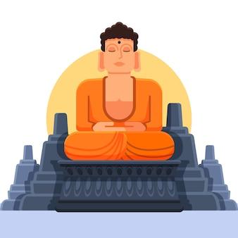 Budda sorridente con design piatto