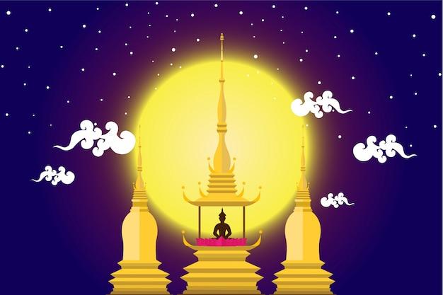 Buddha nel castello con la notte di luna in design piatto