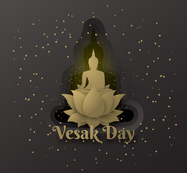 Buddha su loto felice giorno vesak su strati di sfondo nero