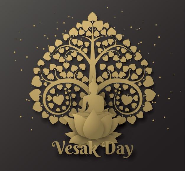 Buddha su loto happy day vesak background con albero di bodhi