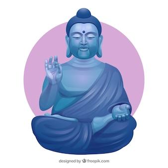 Budha di pietra con design piatto