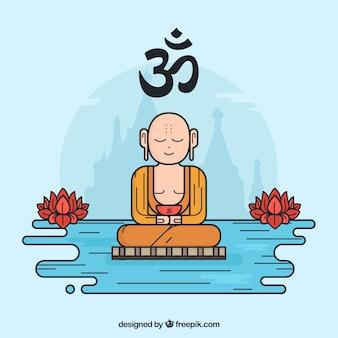 Budha disegnato a mano con stile colorato
