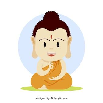 Budha incantevole con design piatto