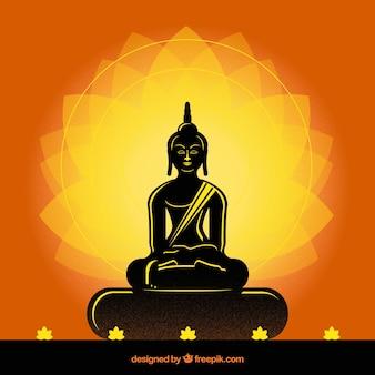Budha tradizionale con stile silhouette