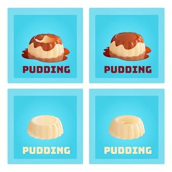 Budino alla vaniglia fatto in casa. set di dessert gelatina alla crema