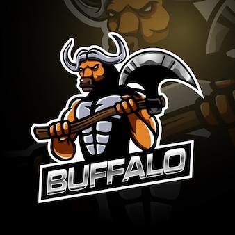 Buffalo che tiene il modello di logo grande ascia