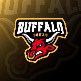 Buffalo mascotte logo esport illustrazione di gioco