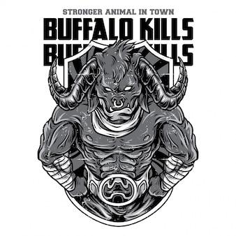 Buffalo uccide l'illustrazione in bianco e nero