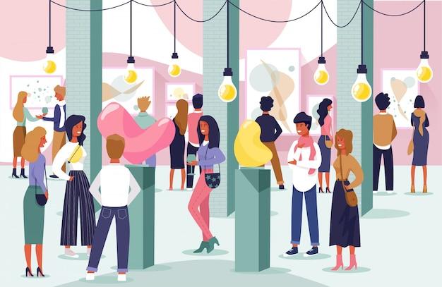 Buffet di banner piatto in exhibition hall cartoon.