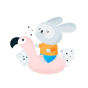 Buffo bambino coniglietto con fenicottero sulla spiaggia