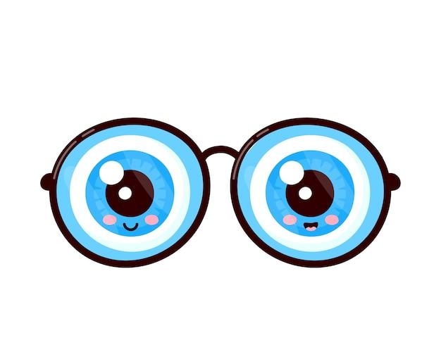 Bulbi oculari umani nel carattere di occhiali