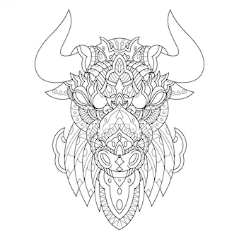 Bull mandala zentangle illustration in stile lineare