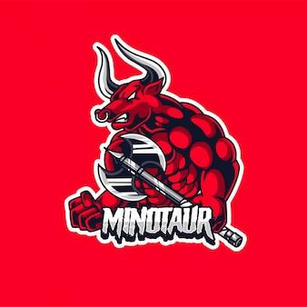 Bull minotaur esport logo di gioco