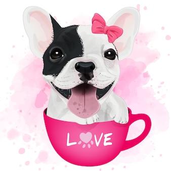 Bulldog francese sveglio che si siede dentro la tazza con l'acquerello