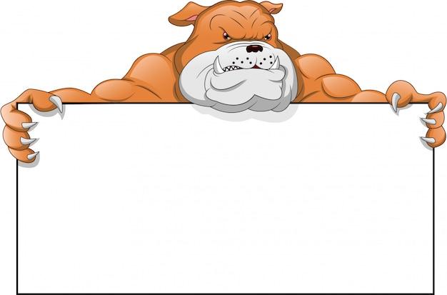 Bulldog inglese cartoon e segno bianco