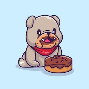 Bulldog sveglio che mangia torta fumetto illustrazione vettoriale. concetto di cibo animale vettore isolato. stile cartone animato piatto