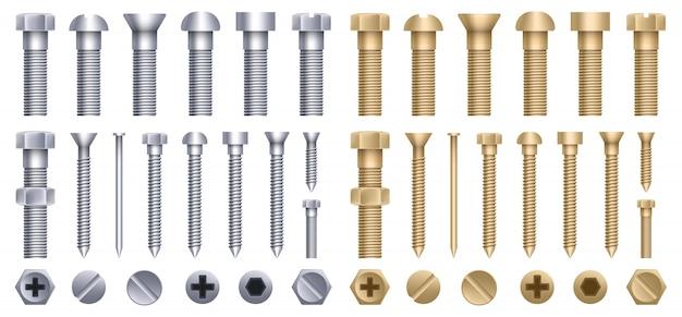 Bullone in acciaio in ottone, vite in metallo, chiodi in ferro, rivetti.