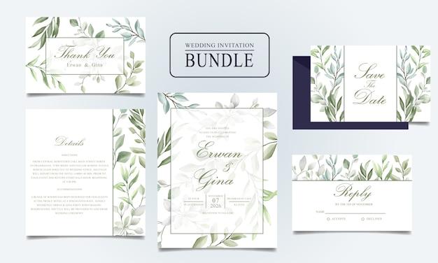 Bundle di carta di invito matrimonio bellissimo con foglie dell'acquerello