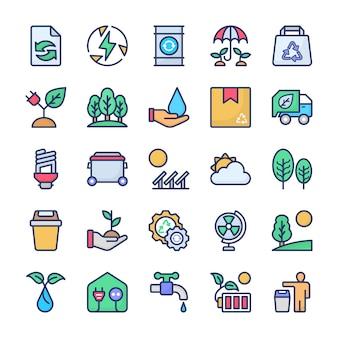 Bundle di icone di riciclaggio ed ecologia