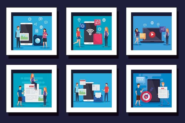 Bundle di icone social media con le persone