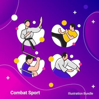 Bundle di illustrazione di sport sport di combattimento