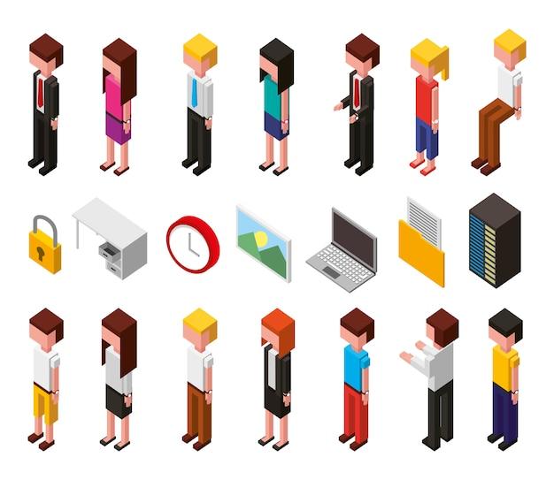 Bundle di set di icone isometriche avatar data center e utenti