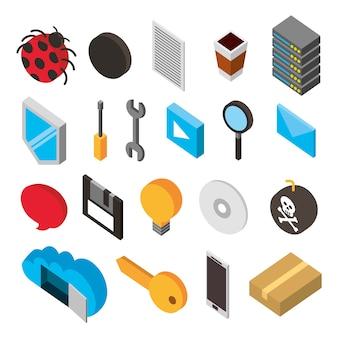 Bundle di set di icone isometriche di archiviazione del data center