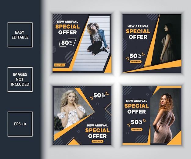 Bundle di vendita di moda social media post modello di progettazione