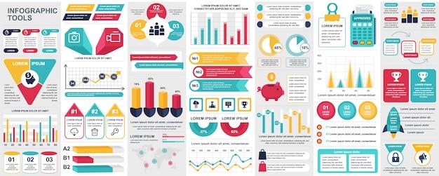 Bundle infografica ui, ux, modello di elementi kit